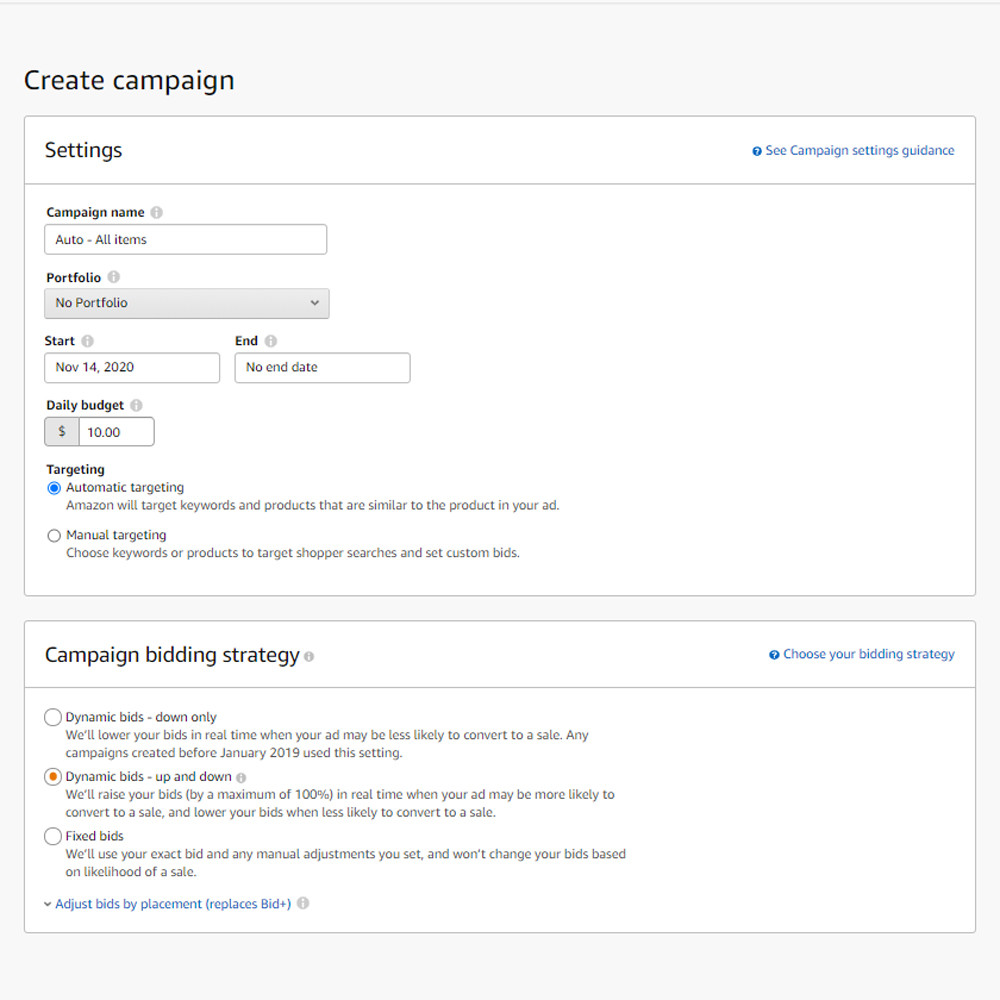 Sponsored Products automatic campaign setup