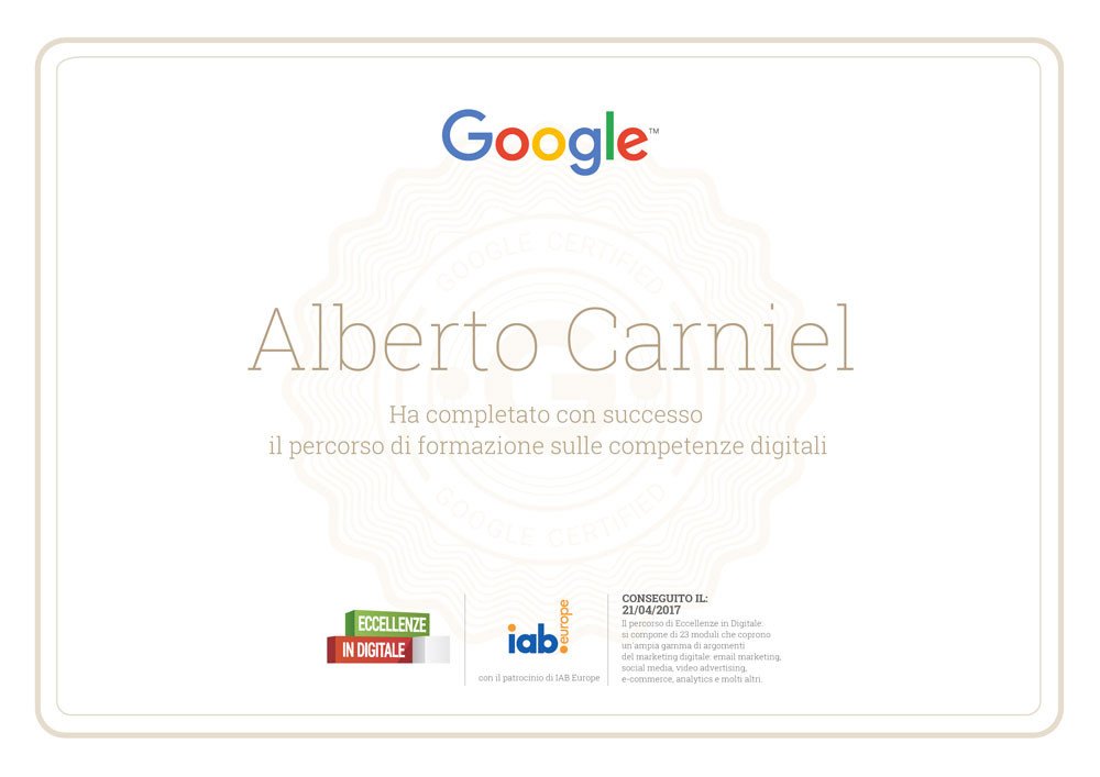 This is Google's The Digital Garage certificate attained by Alberto Carniel in 2017.