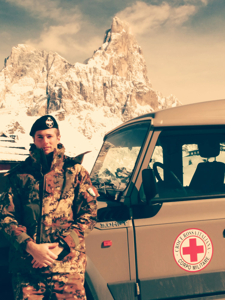 Military Corps of the Red Cross private in Passo Rolle mountains (Italy)