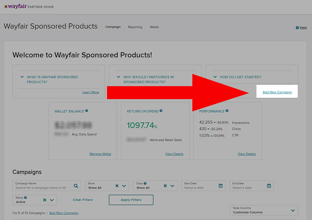 Add New Campaign Wayfair Sponsored Products