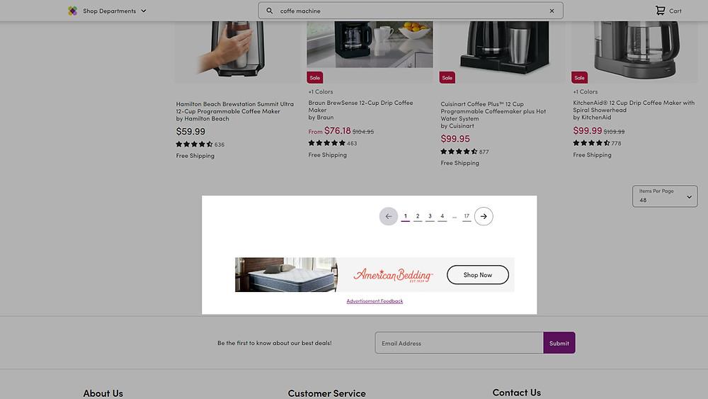 Wayfair Sponsored Shops on search feed