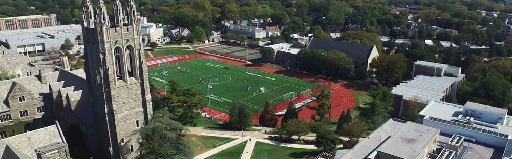 Bird's eye view of the Saint Joseph's University campus in Philadelphia (PA, USA).