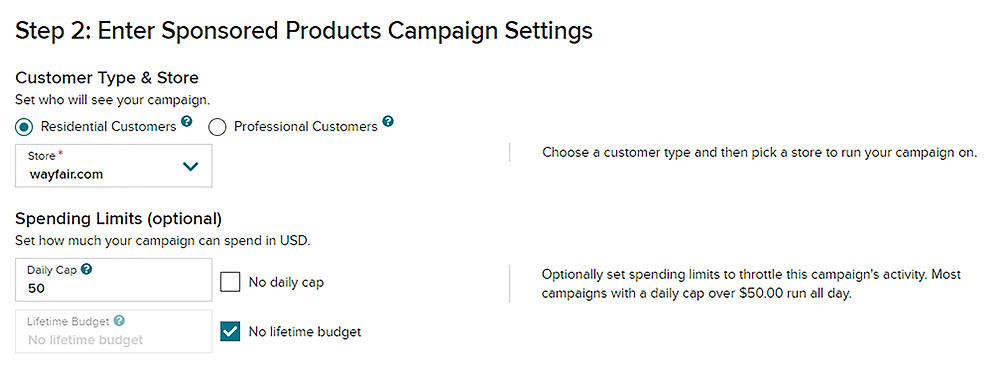 Product targeting step 2