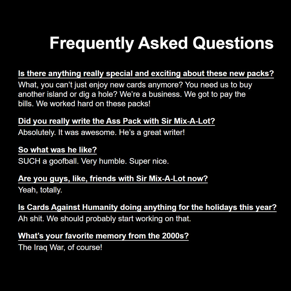 Example of funny FAQs