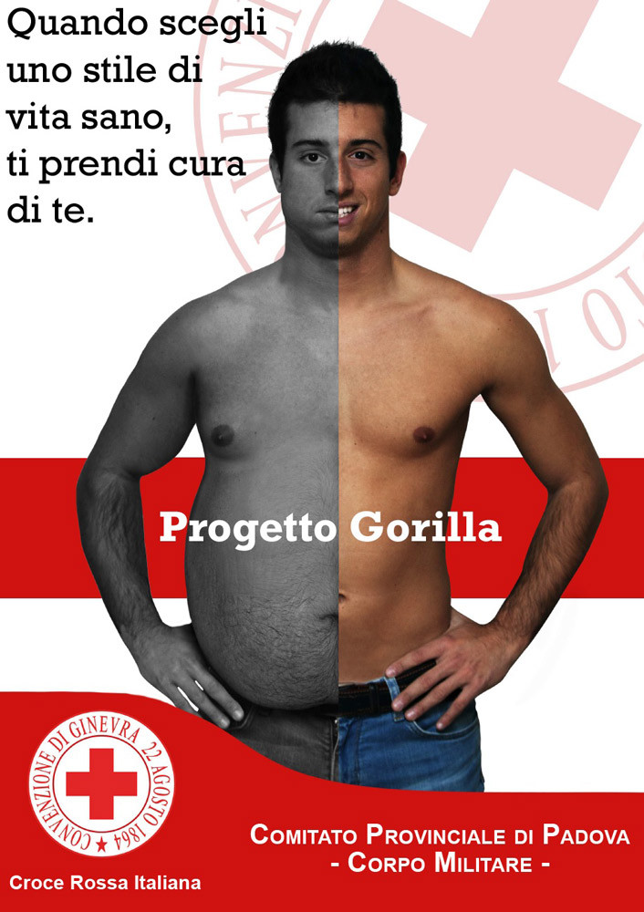 Italian Red Cross Gorilla fitness and wellness project's front page flyer