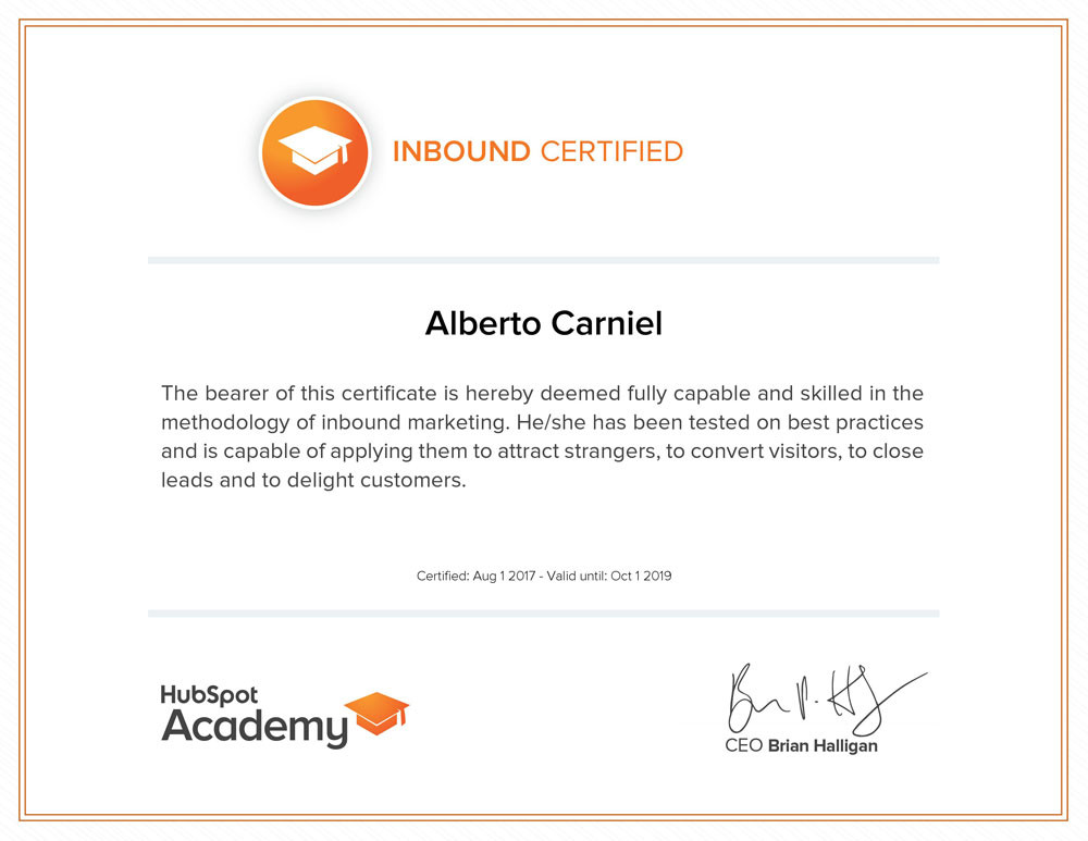 This is the HubSpot Academy's Inbound certification attained by Alberto Carniel in 2017.
