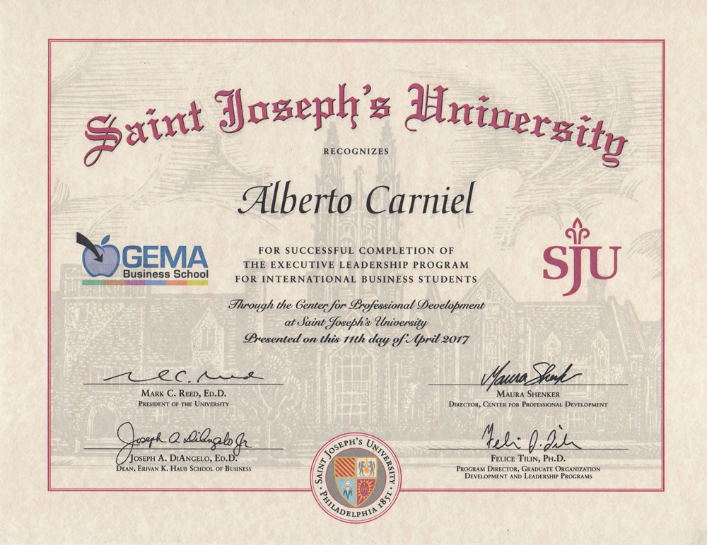 This is the Saint Joseph's University post-graduate degree in International Marketing Management attained by Alberto Carniel in 2017. This degree is given for having succesfully completed an executive leadership program for international business students.