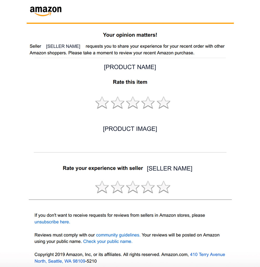 Amazon request a review email