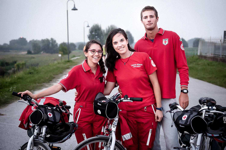 "Italian Red Cross volunteers with bicycles during the event: ""Due passi per la vita"""