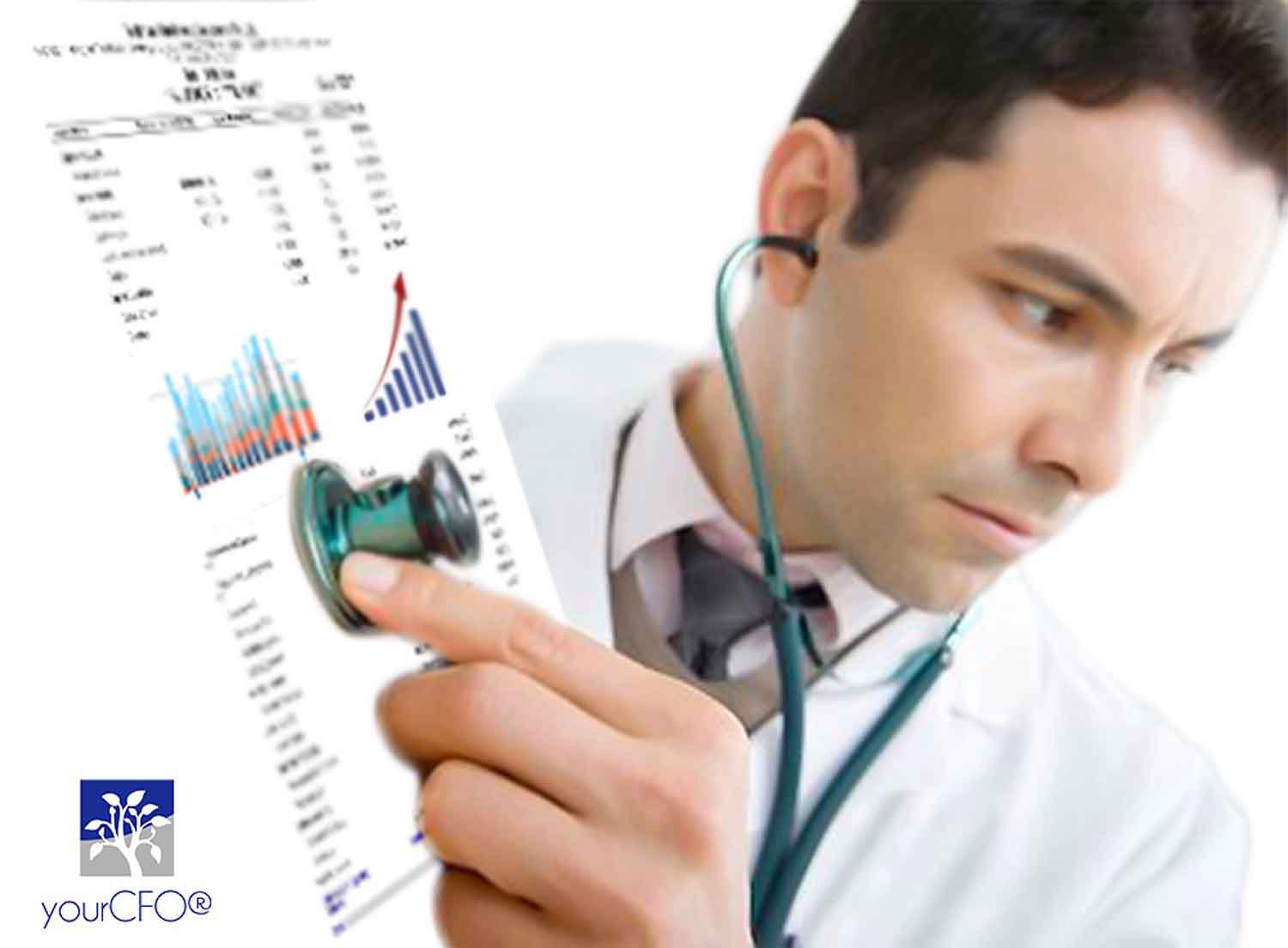 A doctor CFO auscultating financial reports
