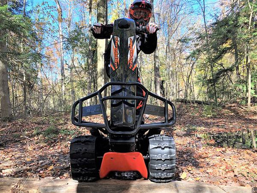 All of our in-stock models are equipped with the skid plate (orange, seen here) & tow hitch.