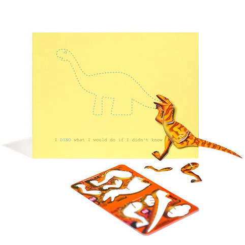 The I DINO What I Would Do if I Didn't Know You Yellow Comes with a Dinosaur Puzzle Card