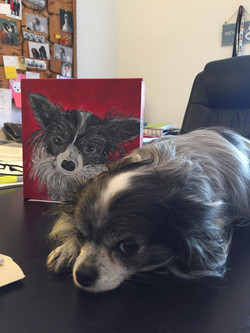 Lily with her portrait