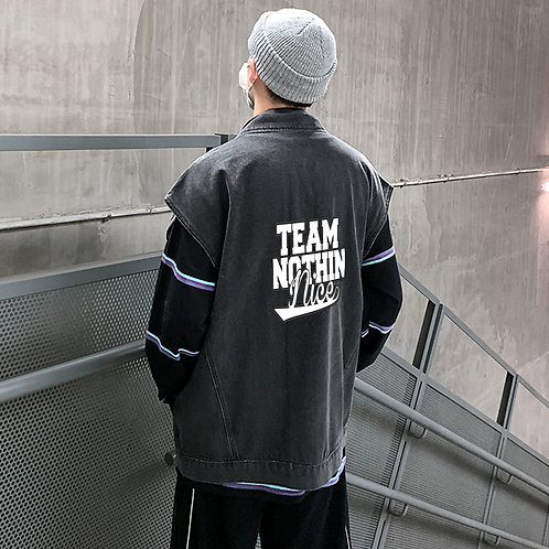 Team Nothin Nice Unisex Classic Denim Vest Casual Sleeveless Waistcoat Single-Br