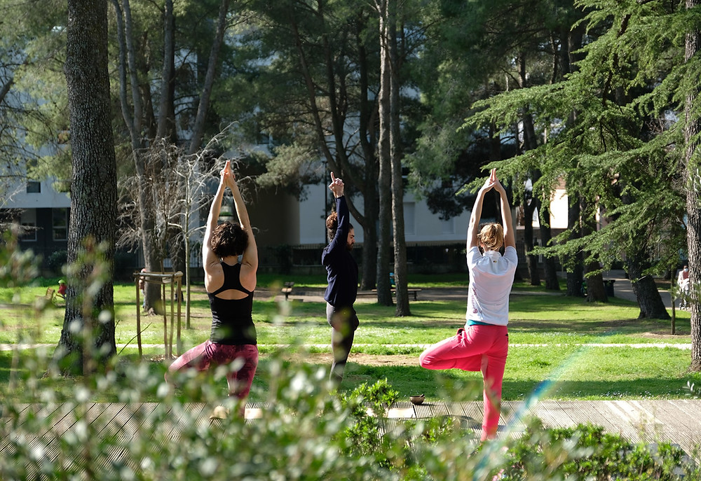 Yoga mercredi parc extérieur plein air Montpellier HMK Yoga Hoomakaana