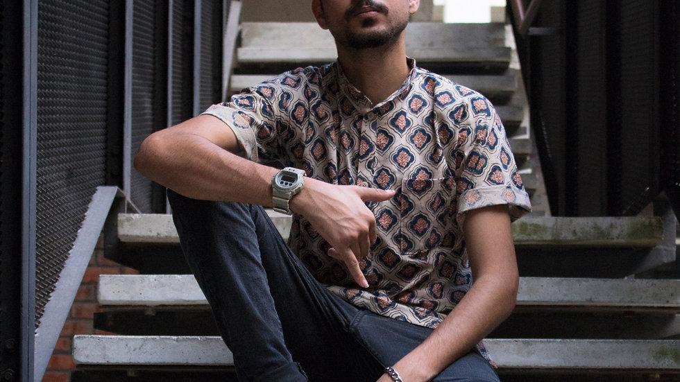Printed Kurta-like Shirt(Beige)