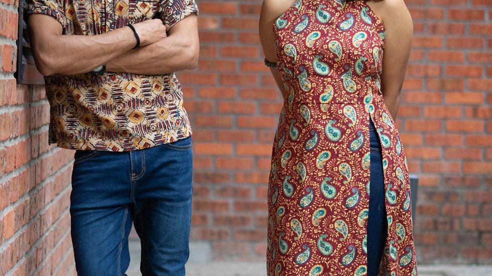 Couple's Set - Ajrakh Print Kurta and Halter Neck Top