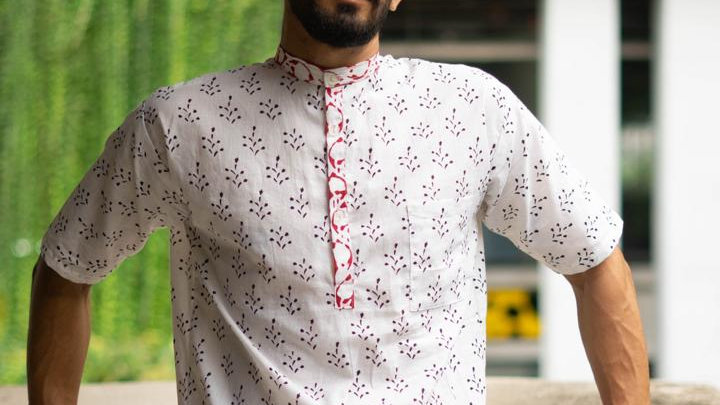 Sanganeri Handblock Print Kurta Shirt