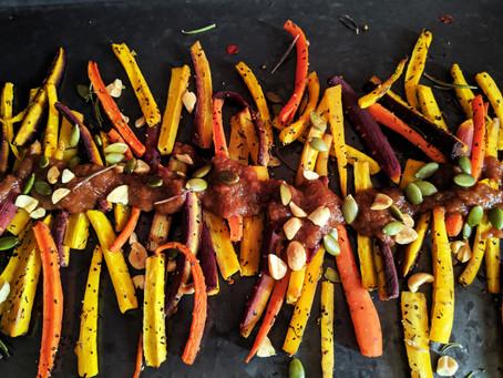 Thanksgiving appetizer : Apple butter BBQ roasted carrots.
