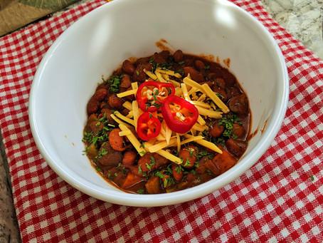 Roasted sweet potato and mushroom chili
