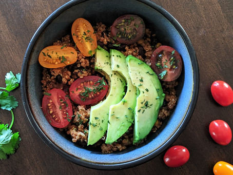 Black beans and healthy grains Mexican bowl