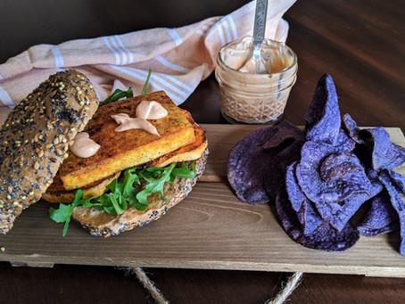 Curried tofu and sweet potato sandwich with smokey aioli