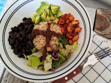 Root veggies and black bean Buddha bowl with salsa roja