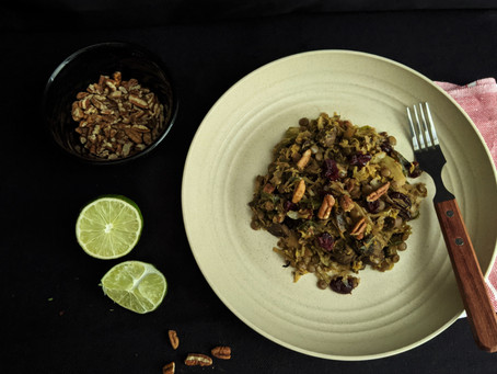 Brussels sprouts with lentils and mushroom.
