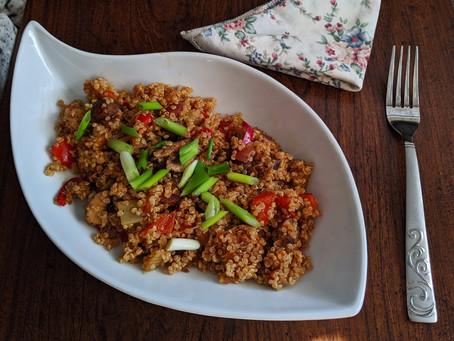Mushroom and 'Beyond meat' sausage quinoa bowl