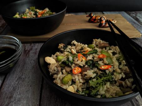Broccolini and mushroom fried rice.