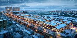 Handan Gateway snowy winter aerial