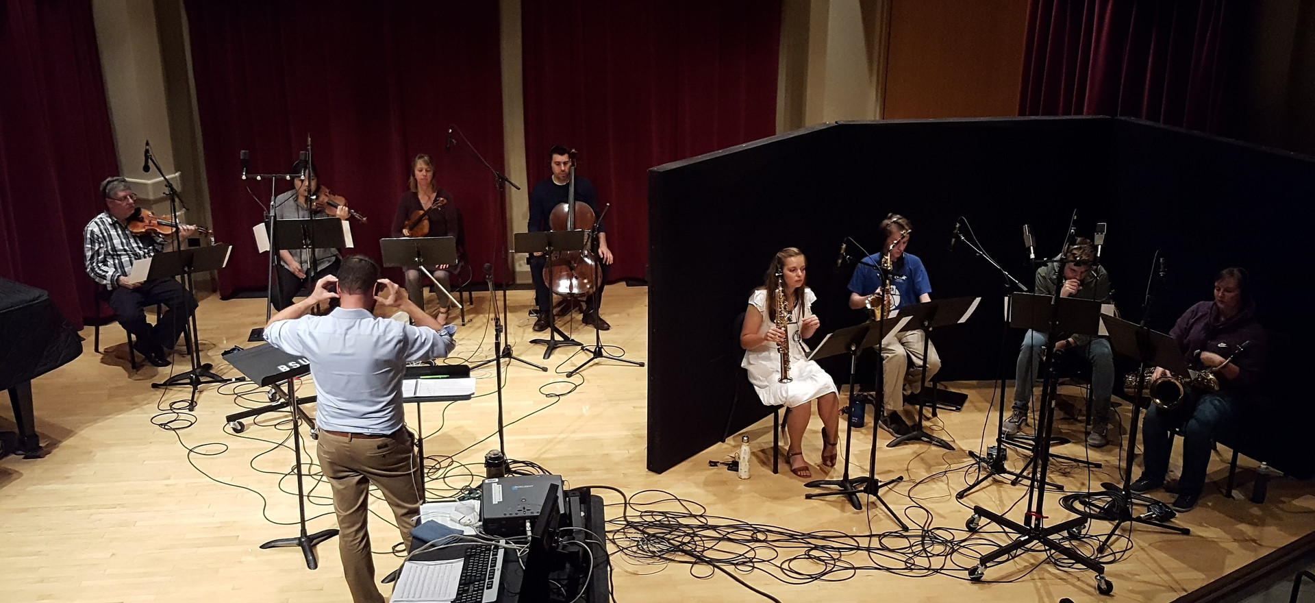Recording session with students and faculty at Boise State