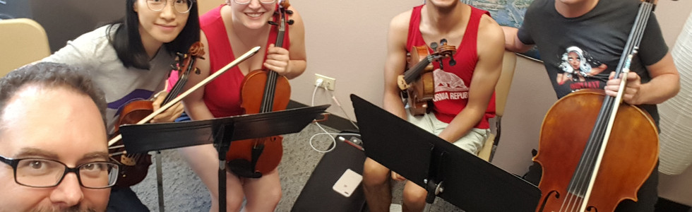 """Rehearsing """"Reminiscentia"""" with the Dynamix String Quartet"""