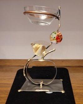Vertical Honey Holder with Copper Apple.