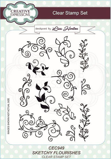 Sketchy Flourishes - A5 Clear Stamp Set - Creative Expressions
