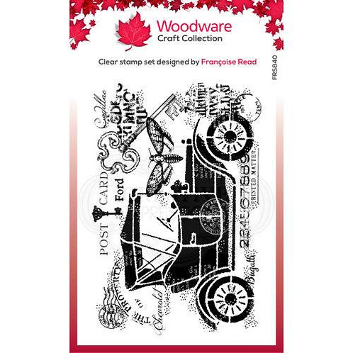 Vintage car - Woodware Clear Stamp -4x6""