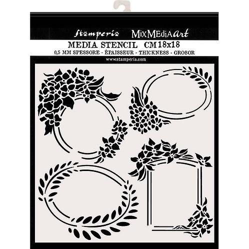 Media Stencil - Labels - 18cm x 18cm
