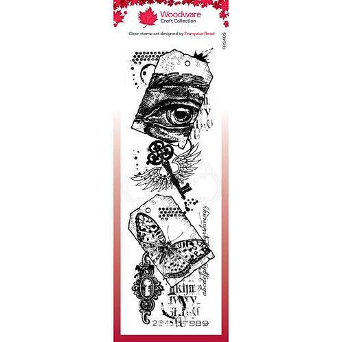 Tags Collage - Woodware Clear Stamp -8x2.6""