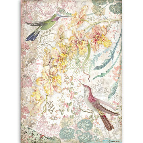 A4 - Rice Paper - Yellow Orchids And Birds