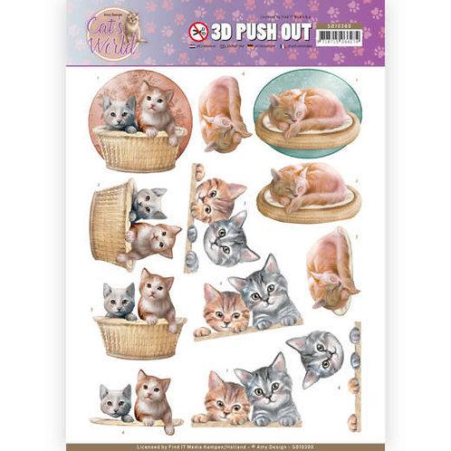 Cat's World  - Die Cut Decoupage Sheet