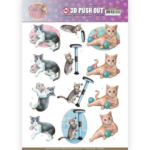 Cats - Die Cut Decoupage Sheet - A4