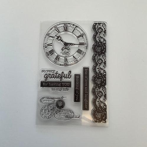 A6 Clear Stamp -vintage travel clock set