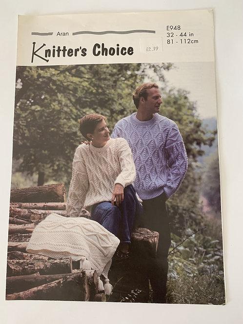 Aran Mens & Ladies Sweater Pattern