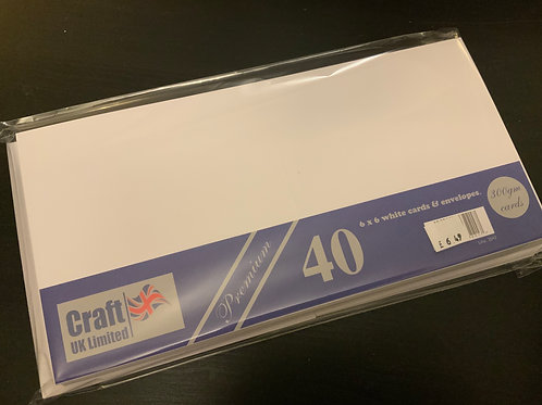 """White 6""""x6"""" Cards & Envelopes -40"""