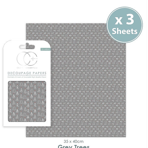 Decopatch papers - 3 sheet pack - Grey Trees