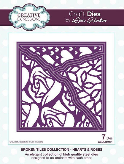 Hearts & Roses - Broken Tiles - Lisa Horton - Craft Die