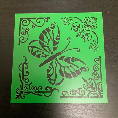 "Corner & Butterfly 6""x6"" Stencil"