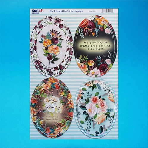 Foiled - Diecut - A4 Sheet - Flowers