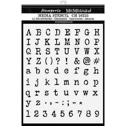 Media Stencil - Alphabet & Numbers  - 20 x 25 cm
