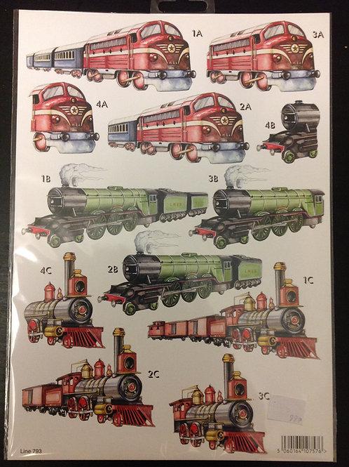 Die Cut A4 Sheet - Trains